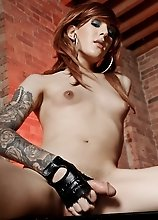 Stunning Ryder jerking off with leather gloves