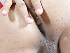 Little Shemale strokes while Fingering her own Ass