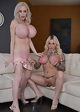 Nadia Love and Juliette Stray play with their hot tranny pussy, huge cocks and massive tits