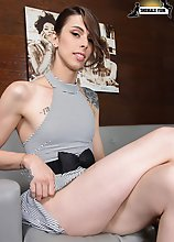 Casey Kisses is a stunning transgirl with an amazing body, long sexy legs, natural tits, a firm ass and a delicious cock! Watch this sexy tgirl stripp