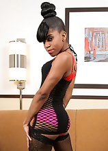 GroobyNewbie Lil Bit is a smoking hot ebony tgirl with a sexy petite body, small perky breasts, a sexy firm butt and a rock hard cock! Watch this horn