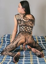 Here slim ladyboy Gina in sexy fishnets outfit. Feeling a little more naughty her hands grabs her cock and jerks it off until she cums!
