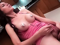 Frosting on Ladyboy Bows perky nipples while she cums