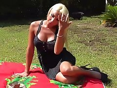 Sexy Blonde Transgirl having a picnic with her cock out