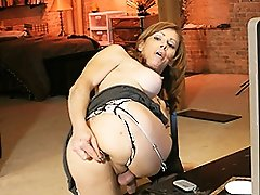 Super hot transsexual MILF playing with herself