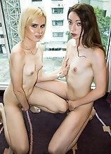 European tgirls, English Sasha De Sade and Russian Yulia Masakowa, suck each others' hard cocks and fuck each other!