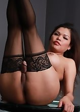 Hot Carmen posing in black stockings
