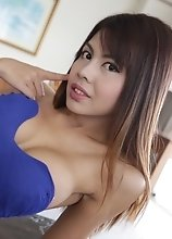 20 year old Thai ladyboy does a striptease for tourist