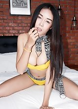 Ladyboy Alice - Yellow Booty Shorts Loaded Up