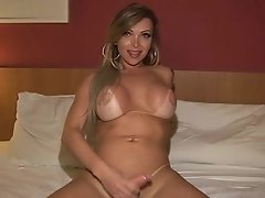Nikki's friend Carla Novaes is stuck in lock down so she plays with hard thick cock in the shower