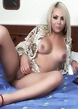 A Horny Shemale with Nice Tits stroking until she Creams