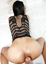 Ladyboy Natty - Black Slutty Dress Creampie